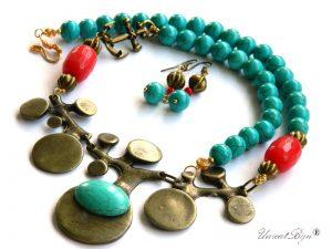 bijuterii-bronz-statement-turcoaz-agat-rosu-ancora-colier-vara-marin-unicatbiju-semipretioase