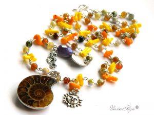 colier-lung-statement-bijuterii-semipretioase-pandantiv-amonit-coral-galben-coral-orange-agat-unicatbiju-calut-de-mare-soare-bijuterii-vara