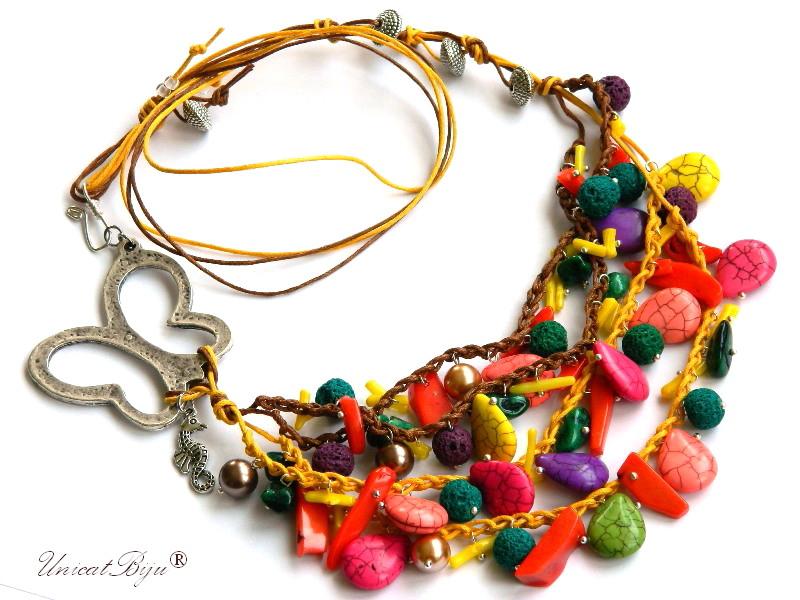colier-statement-bijuterii-semipretioase-vara-turcoaz-coral-multicolor-fluture-argintat-calut-de-mare-unicatbiju