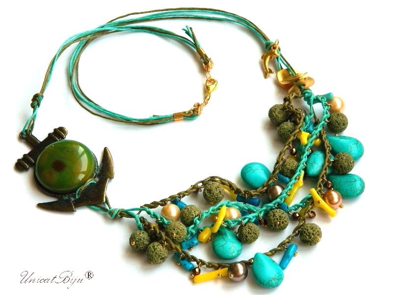 colier-statement-vara-perle-mallorca-bronze-turcoaz-pandantiv-ancora-lava-olive-coral-albastru-coral-galben-unicatbiju