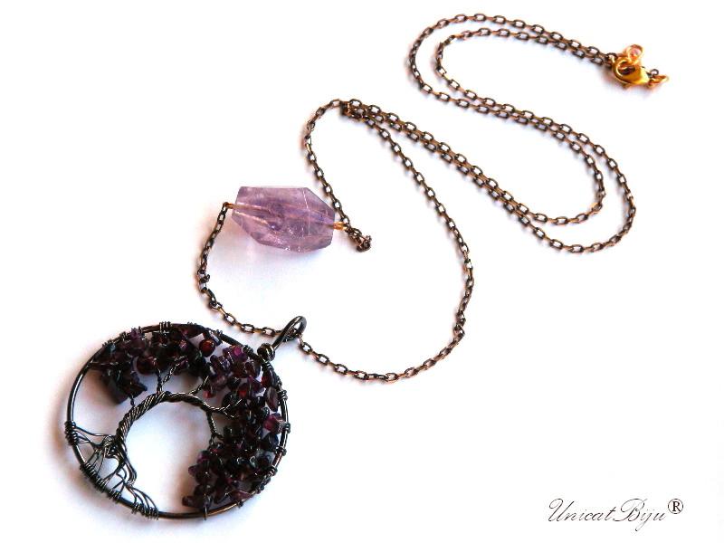 colier-lant-bronz-copacul-vietii-ametist-granat-aurit-bijuterii-semipretioase-unicatbiju