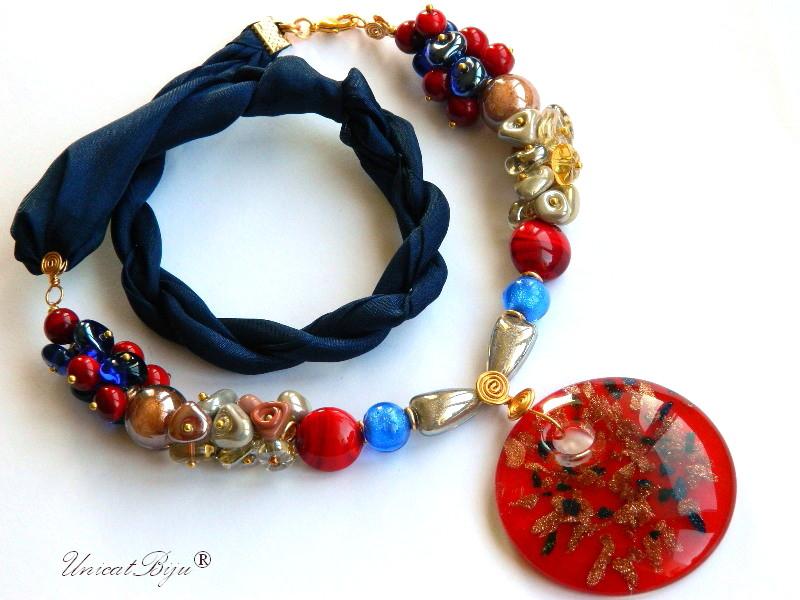 bratara-perle-murano-bijuterii-matase-naturala-pandantiv-murano-bleumarin-rosu-unicatbiju