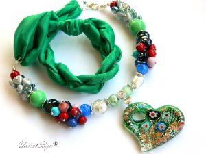 bratara-perle-murano-bijuterii-matase-naturala-pandantiv-murano-inima-smarald-unicatbiju