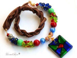 bratara-perle-murano-bijuterii-matase-naturala-pandantiv-murano-multicolor-unicatbiju
