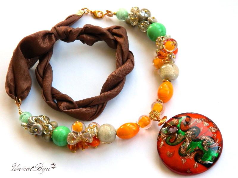 bratara-perle-murano-bijuterii-matase-naturala-pandantiv-murano-orange-unicatbiju