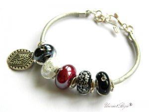bratara-tip-pandora-piele-naturala-metalizata-perle-murano-foita-argint-burgundy-unicatbiju