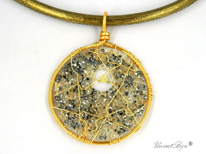 colier-cristale-swarovski-bijuterii-statement-pandantiv-mare-colier-piele-naturala-colan-unicatbiju-aurit-golden-shadow