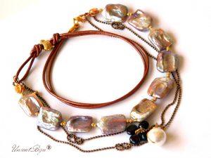 colier-perle-keishi-sidef-natural-curcubeu-bijuterii-semipretioase-granat-snur-piele-naturala-unicatbiju-bronz