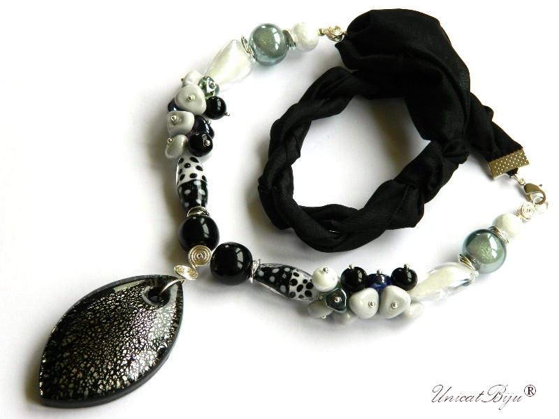 colier-perle-murano-bijuterii-matase-naturala-pandantiv-murano-foita-argint-statement-negru-silver-unicatbiju