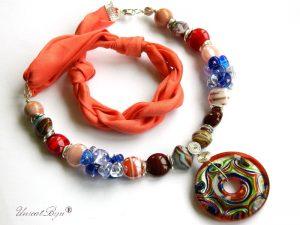 colier-perle-murano-bijuterii-matase-naturala-pandantiv-murano-foita-argint-statement-orange-multicolor-unicatbiju