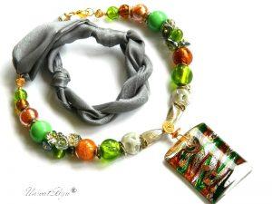 colier-perle-murano-bijuterii-matase-naturala-pandantiv-murano-foita-aur-statement-gri-galben-unicatbiju