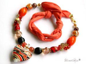 colier-perle-murano-bijuterii-matase-naturala-pandantiv-murano-foita-aur-statement-inima-orange-unicatbiju
