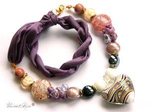 colier-perle-murano-bijuterii-matase-naturala-pandantiv-murano-foita-aur-statement-lavanda-auriu-glitter-unicatbiju