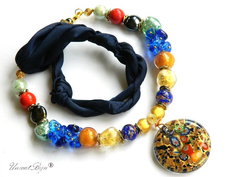 colier-perle-murano-bijuterii-matase-naturala-pandantiv-murano-foita-aur-statement-millefiori-safir-unicatbiju