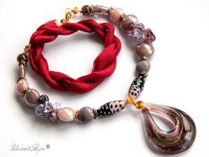 colier-perle-murano-bijuterii-matase-naturala-pandantiv-murano-foita-aur-statement-mov-visiniu-unicatbiju