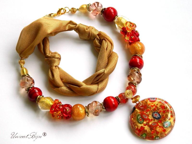 colier-perle-murano-bijuterii-matase-naturala-pandantiv-murano-foita-aur-statement-rosu-orange-unicatbiju