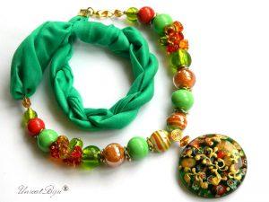 colier-perle-murano-bijuterii-matase-naturala-pandantiv-murano-foita-aur-statement-smarald-millefiori-unicatbiju