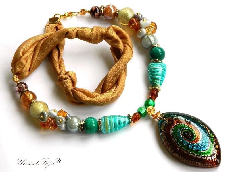 colier-perle-murano-bijuterii-matase-naturala-pandantiv-murano-foita-aur-statement-turcoaz-ocru-unicatbiju