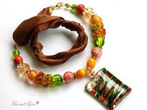 colier-perle-murano-bijuterii-matase-naturala-pandantiv-murano-foita-aur-statement-verde-scortisoara-unicatbiju