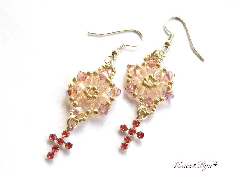 cercei-cristale-swarovski-fulg-zapada-cruciulite-cristal-roz-cercei-lungi-cadouri-craciun-unicatbiju