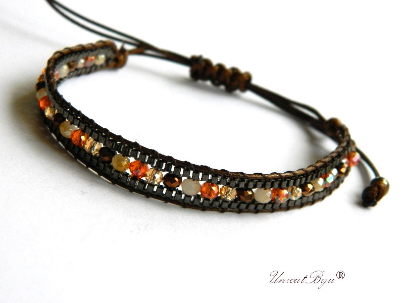 bratara-wrap-reglabila-cristale-statement-boho-style-orange-ambra-unicatbiju