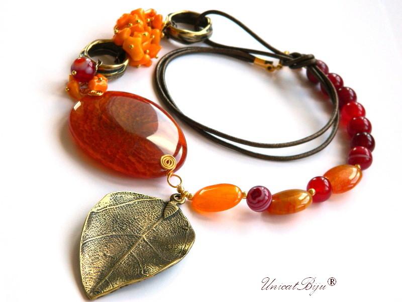colier-agat-rosu-statement-bijuterii-semipretioase-unicat-frunza-bronz-coral-orange-unicatbiju