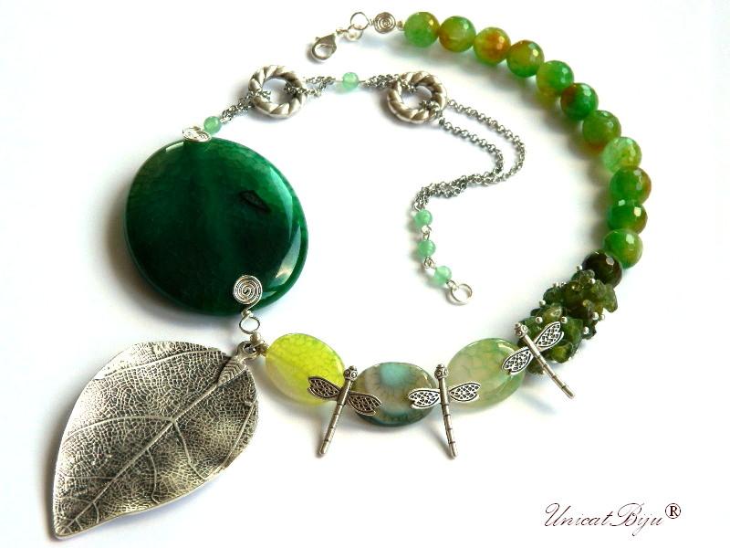 colier-agat-verde-smarald-peridot-bijuterii-semipretioase-unicat-frunza-argintata-libelule-statement-unicatbiju