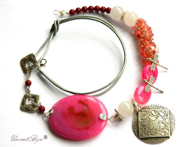 colier-cuart-roz-agat-bijuterii-semipretioase-unicat-libelula-argintat-unicatbiju-piele-naturala