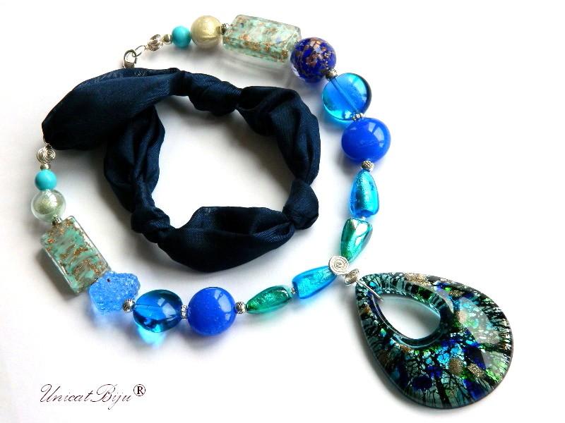 colier-perle-murano-bijuterii-matase-naturala-foita-argint-bleumarin-unicatbiju