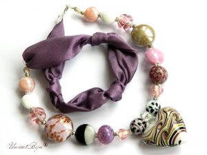 colier-perle-murano-bijuterii-matase-naturala-foita-argint-roz-mov-unicatbiju