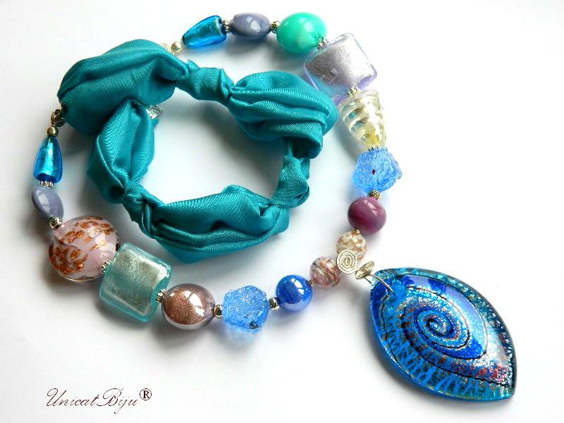 colier-perle-murano-bijuterii-matase-naturala-foita-argint-turcoaz-mov-unicatbiju
