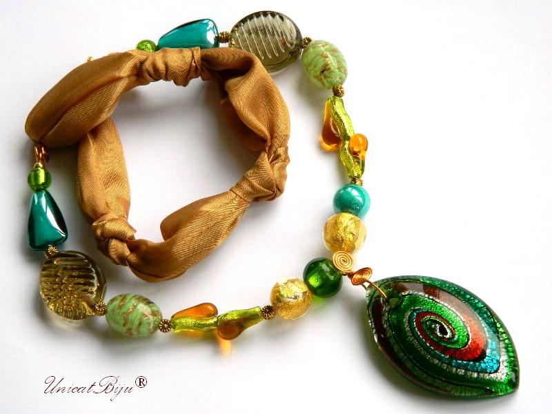 colier-perle-murano-bijuterii-matase-naturala-foita-aur-verde-ambra-unicatbiju