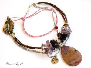 colier-statement-piele-naturala-hematit-bronz-granate-coral-rosu-pandantiv-jasp-ametist-bijuterii-semipretioase-unicatbiju