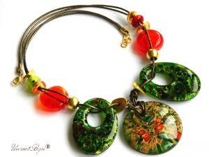 colier-murano-statement-perle-murano-foita-aur-piele-naturala-verde-rosu-unicatbiju-aurit