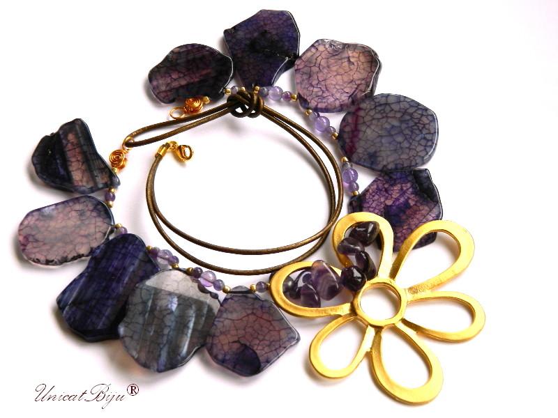 colier-statement-agat-mov-masiv-bijuterii-semipretioase-unicat-floare-aurita-accesorii-supradimensionate-ametist-unicatbiju