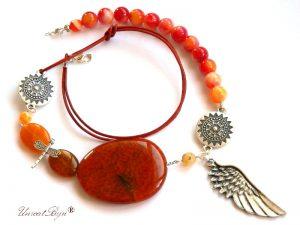 colier-statement-bijuterii-semipretioase-unicat-agat-orange-aripa-argintata-piele-naturala-unicatbiju