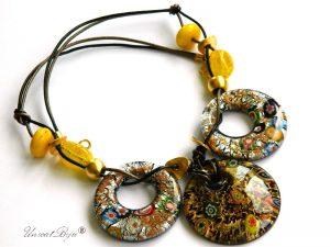 colier-murano-bijuterii-statement-pandantiv-millefiori-foita-aur-piele-naturala-negru-galben-unicatbiju