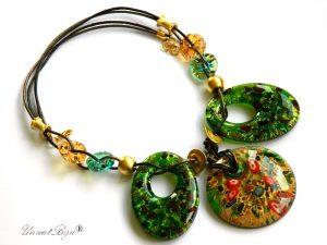 colier-murano-bijuterii-statement-pandantiv-millefiori-foita-aur-piele-naturala-verde-unicatbiju