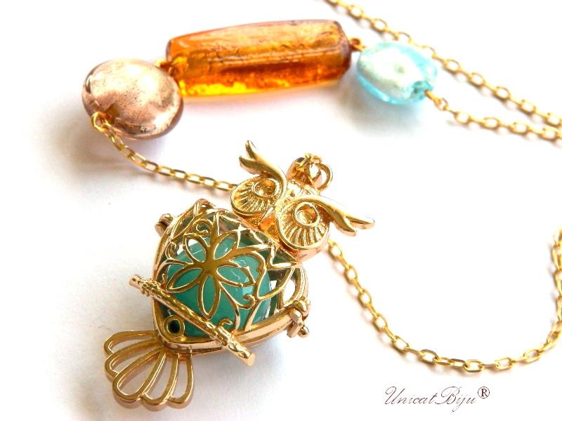 colier lant lung, pandantiv bufnita aurita, perle murano foita aur, jad, turcoaz, unicatbiju