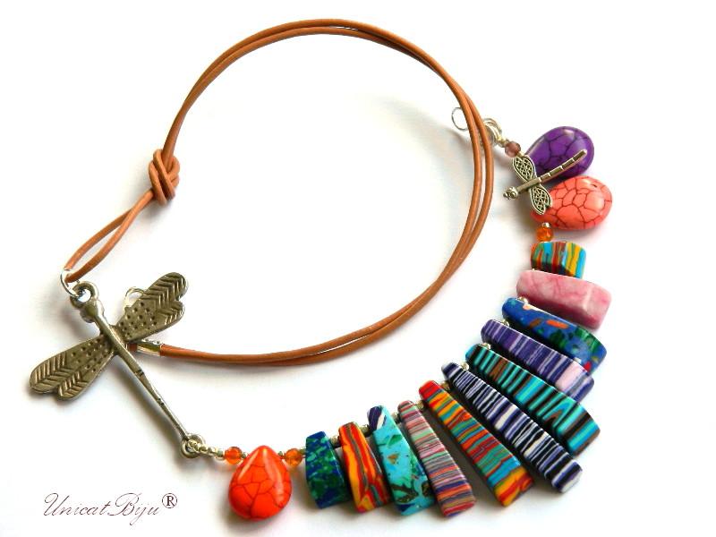 colier-statement-magnezit-multicolor-bijuteri-semipretioase-unicat-libelula-argintata-orange-mov-unicatbiju