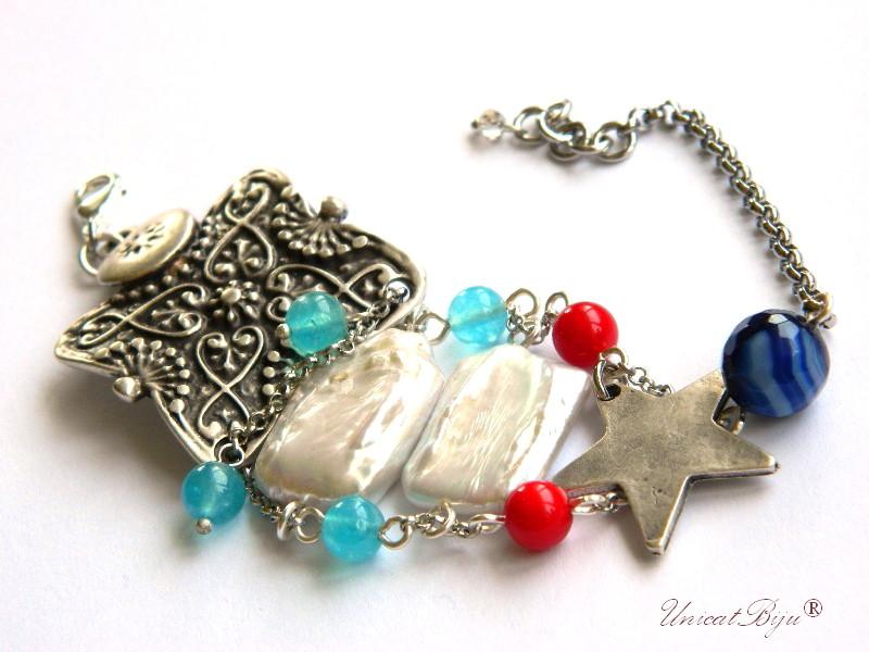 bratara statement, argintat masiv, perle keishi, perle mallorca, angelit, semipretioase, agat albastru, unicatbiju