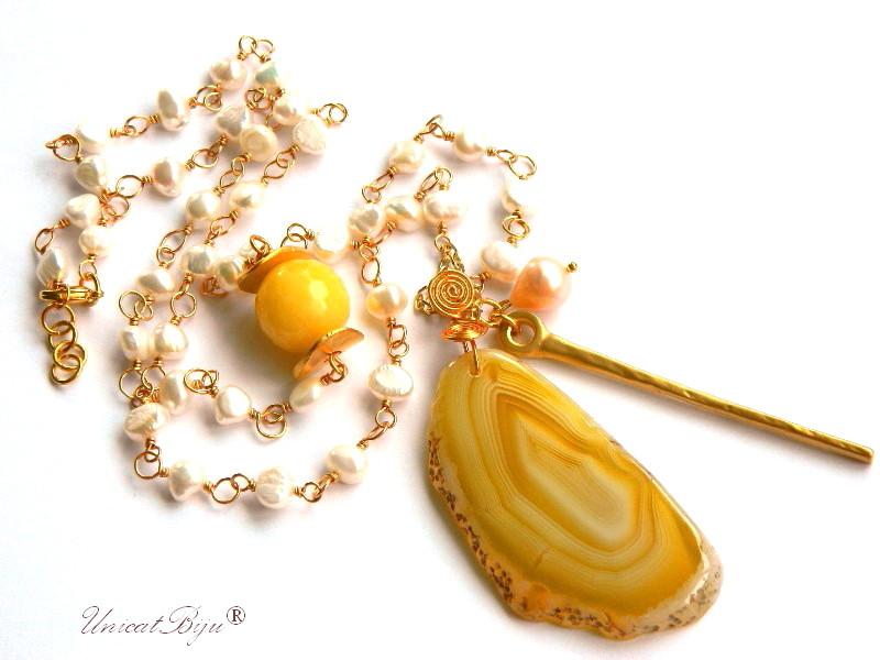 colier extra lung, perle, statement, jad galben, pandantiv felie agat, bijuterii semipretioase unicat, aurit, unicatbiju