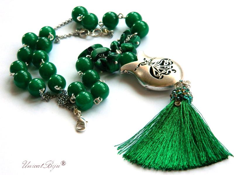 colier jad verde, statement, bijuterii semipretioase unicat, sidef verde, dervish, lalea argintata, unicatbiju