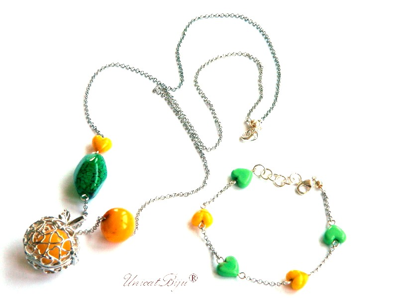 colier murano lung, bratara perle murano foita argint, bijuterii statement, unicatbiju, galben, verde