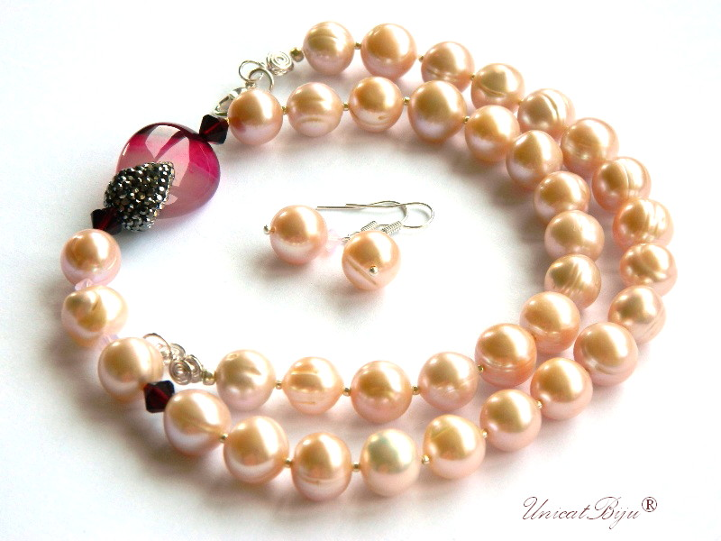 colier perle mari, bijuterii semipretioase unicat, statement, agat incrustat marcasite, cristale swarovski garnet, unicatbiju