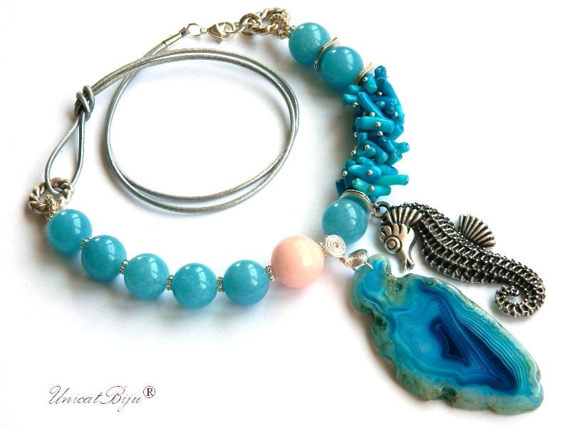 colier statement, angelit, pandantiv calut de mare argintat, jad roz, coral albastru, bijuterii semipretioase, unicatbiju