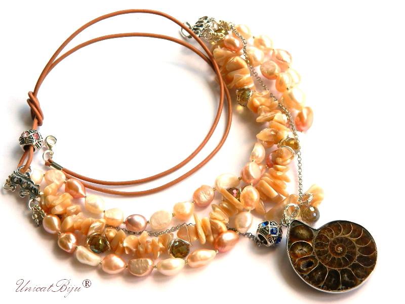 colier statement, bijuterii semipretioase unicat, perle, sidef natural, cristale curcubeu, pandantiv amonit, unicatbiju