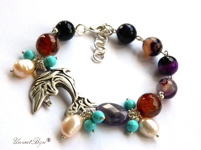 bratara delfin argintat, agat, ametist, turcoaz, perle, bijuterii semipretioase, unicatbiju