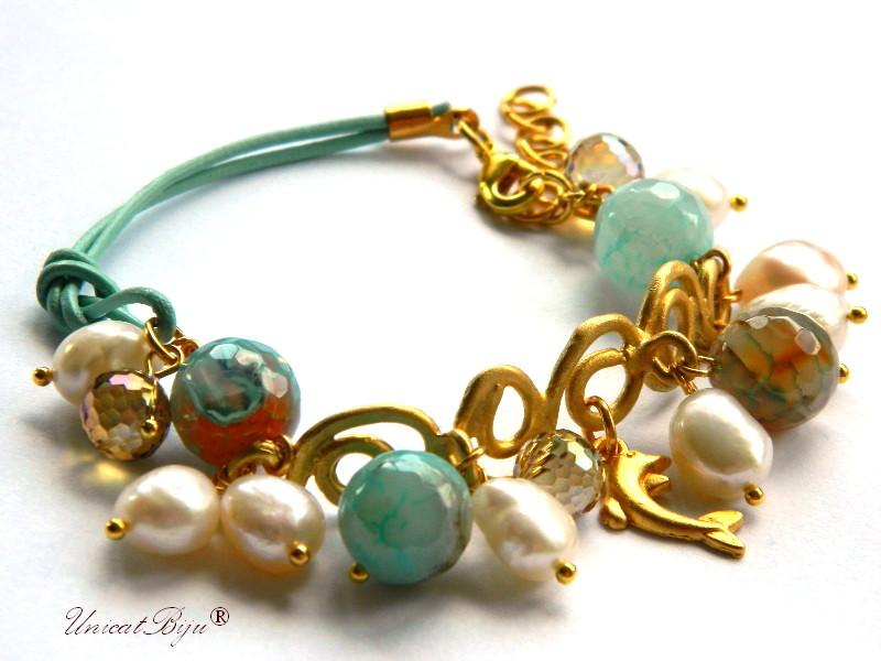 bratara statement, bijuterii semipretioase unicat, perle, agat, delfin aurit, piele naturala, turcoaz, unicatbiju