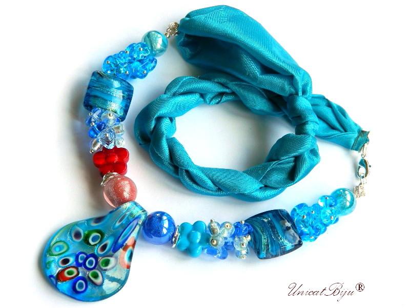 colier perle murano, bijuterii matase naturala, foita aur argint, bleu, rosu, unicatbiju
